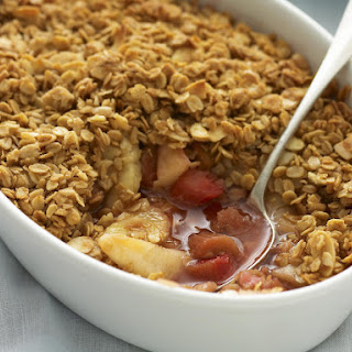 Pear and Rhubarb Crumble with Almond and Oat Topping.