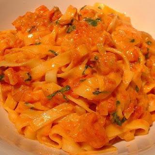 Pasta With Tomato Basil Cream Sauce.