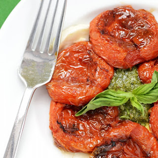 Slow Roasted Tomatoes with Fresh Mozzarella and Basil Cashew Pesto a/k/a Winter Caprese Salad
