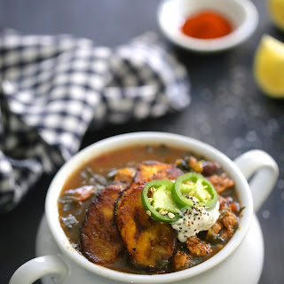 Cuban Chicken Black Bean & Kale Soup with Fried Plantains