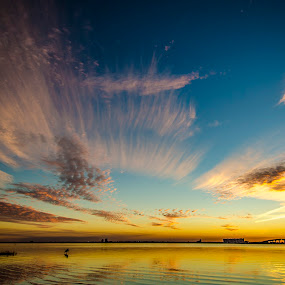 Ripples by David Ubach - Landscapes Waterscapes ( water, clouds, florida, ripples, sunset, cirrus )