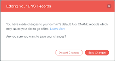 The Editing Your DNS Records warning pop-up is shown with the Save Changes button selected.