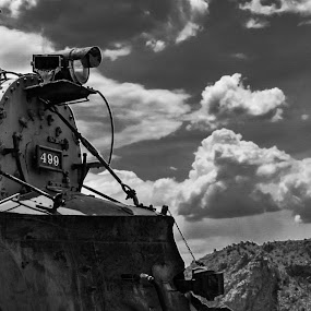 Desert Train by Travis Wessel - Black & White Objects & Still Life ( black and white, desert, colorado, train )