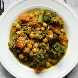 Chickpea, Pumpkin And Broccoli Curry.