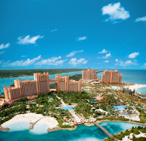The high-rise Atlantis Paradise Island, about 2 miles from downtown Nassau, offers a sprawling water park, 35 restaurants and bars, 3 private beaches, a golf course, casino and more.