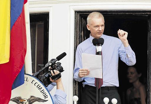 WikiLeaks founder Julian Assange, speaking from the Ecuadorean embassy in London. His associate Arjen Kamphuis disappeared last month in Norway. (File photo)