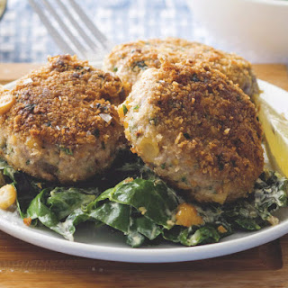 Beef and Chickpea Sausage Patties with Creamed Chard