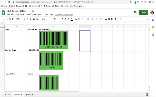 Bulk Barcode & QR Code Generator for Sheets - Google