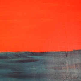 Sunset by Keith Heinly - Painting All Painting ( orange, jh, art, grey, painting )