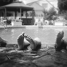 Hanging Around by Lorna Littrell - Black & White Street & Candid ( water, b&w, black and white, summer, children, swimming,  )