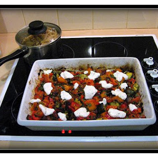 Penne With Roasted Vegetables and Goat Cheese.