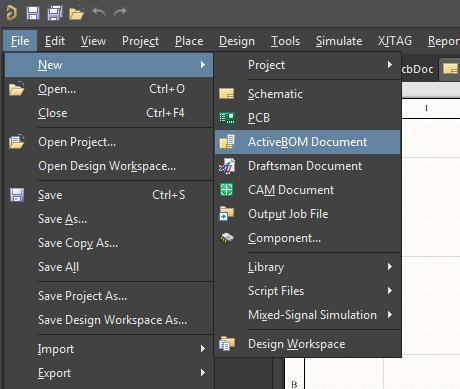 Screenshot zum Hinzufügen eines Active BOM-Dokuments in AD18