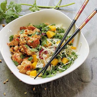 Spicy Peanut Chicken with Mango Slaw