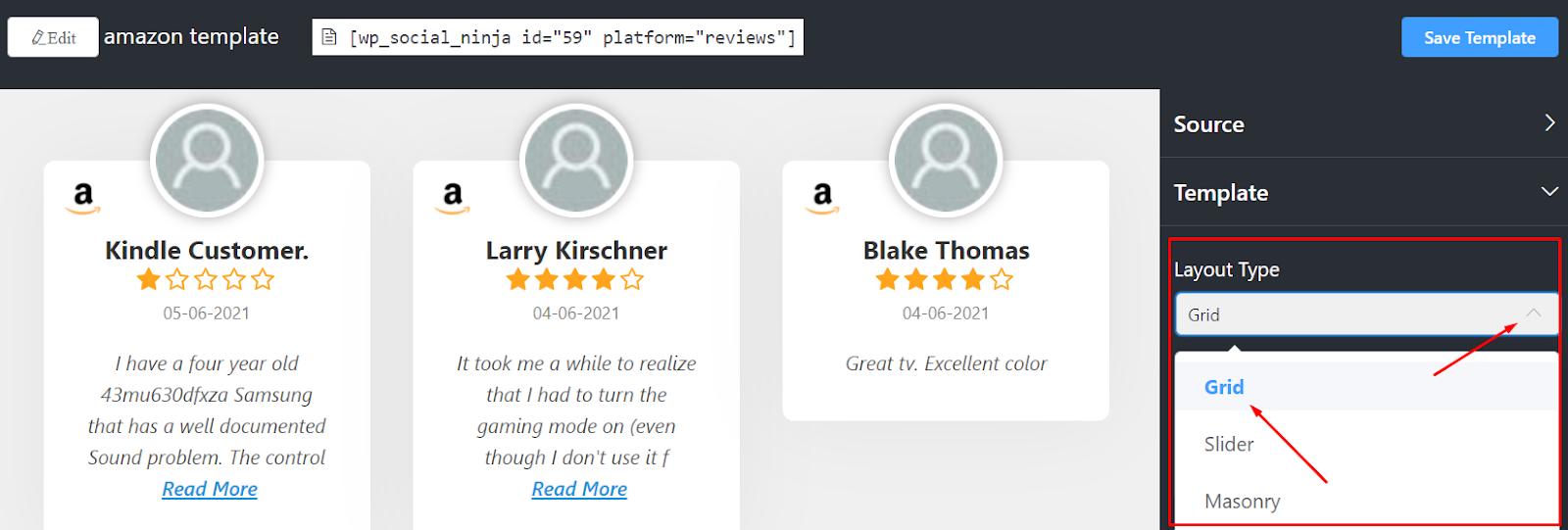 Amazon reviews layout type