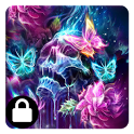 neon skull butterfly theme icon