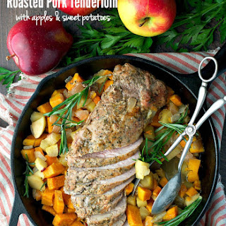 Roasted Pork Tenderloin with Apples and Sweet Potatoes.