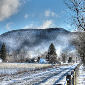 Bike path in winter by Jan Keck - Landscapes Mountains & Hills