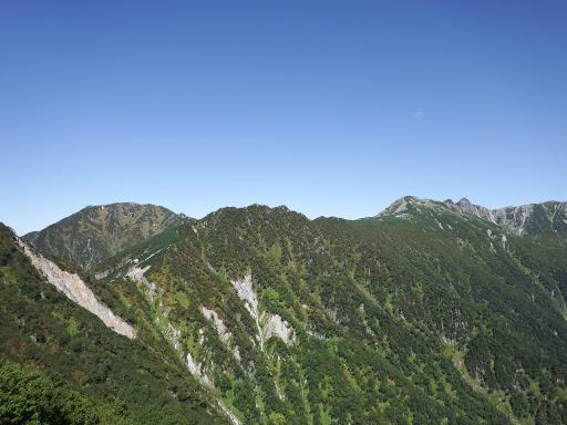 左から三ノ沢岳・濁沢大峰・島田娘・宝剣岳