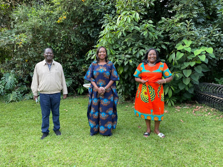 ODM Party leader Raila Odinga, Nairobi Deputy Governor Ann Kananu and Idah Odinga at Karen on April 16