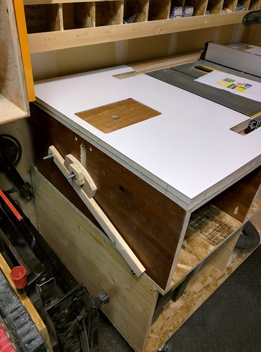 Router in table saw station