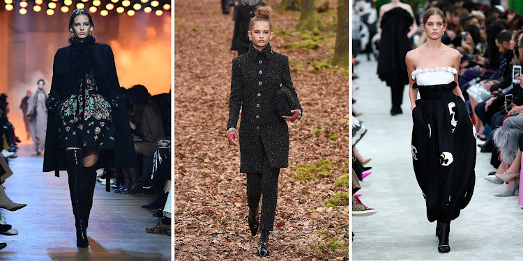 Left to right: Ansolet Rossouw walks for Elie Saab, Chanel and Valentino