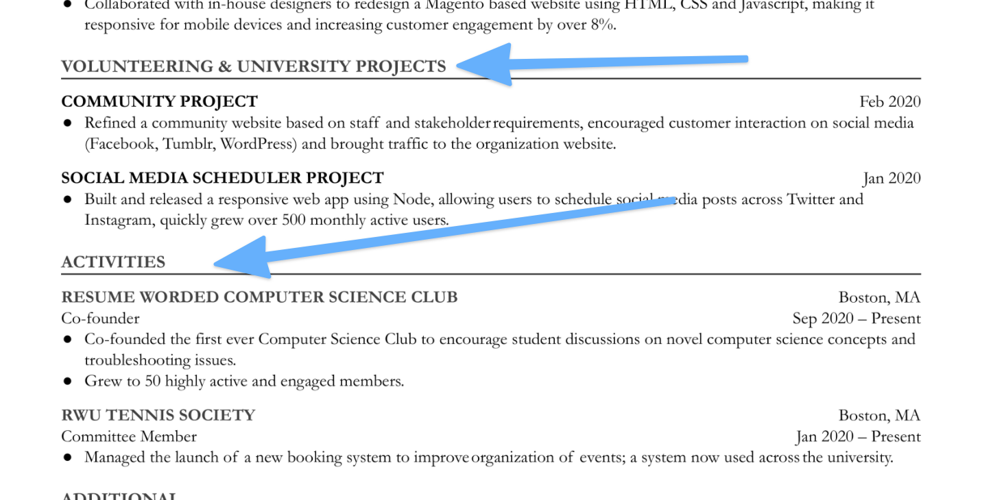 This student's resume showcases their volunteering and university projects — and their extracurricular activities — in separate sections