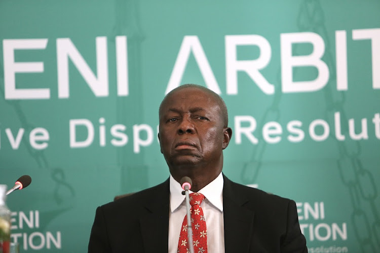 Dikgang Moseneke during proceedings at the Life Esidimeni arbitration hearings probing the deaths of at least 143 mentally ill patients. Picture: ALON SKUY​
