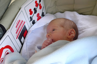 Photo: One month old, reading his first book.