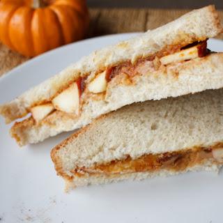 Peanut And Pumpkin Butter Apple Sandwich