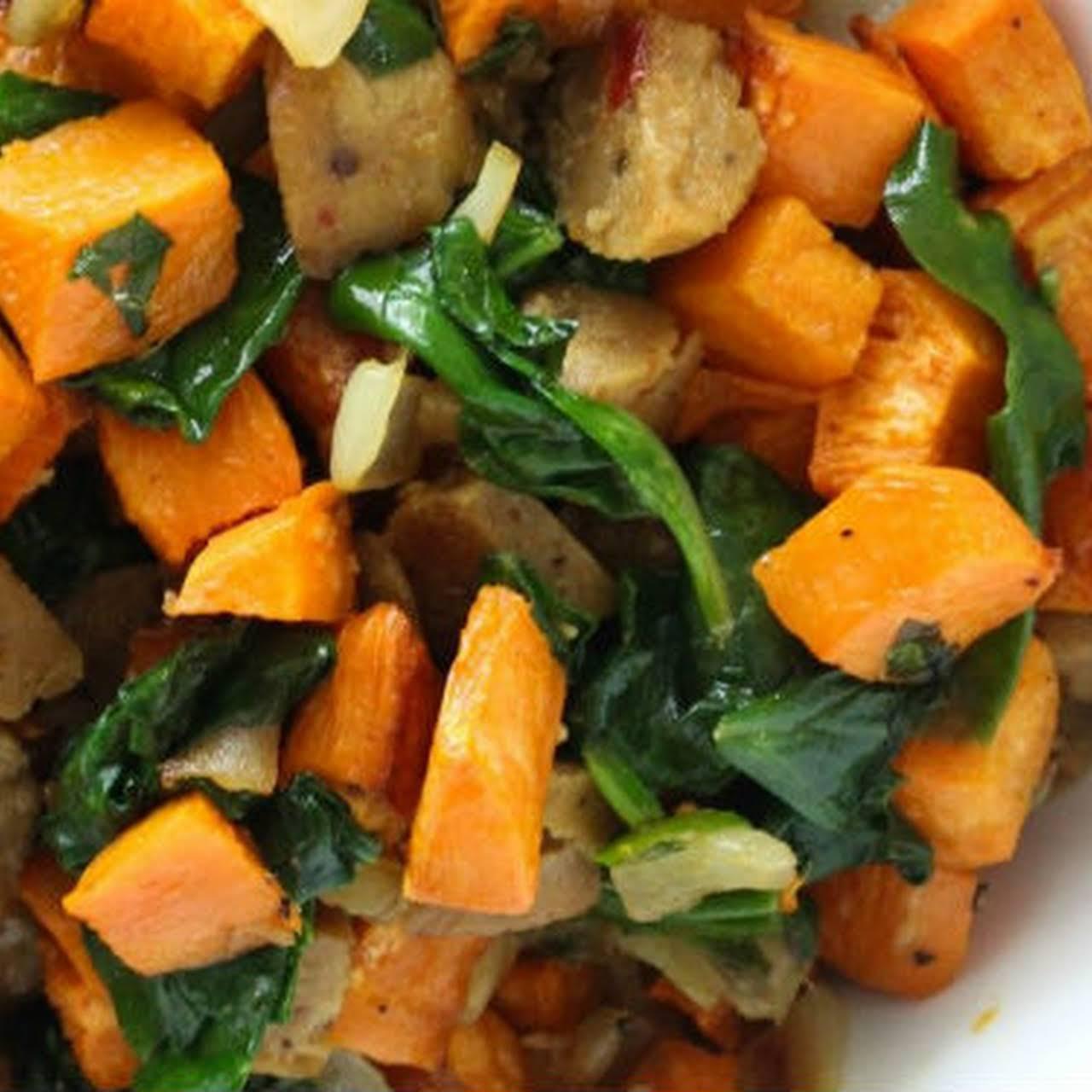 Sweet Potato and Vegan  arena Roast Sausage Hash