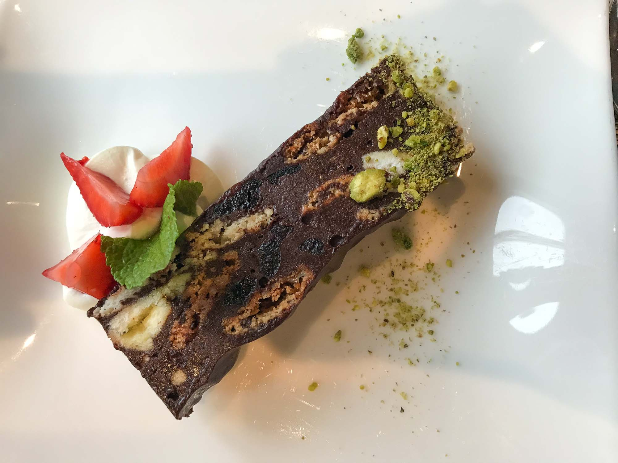 Save room for a decadent brownie dessert at Manfredi's on Viking Sun.