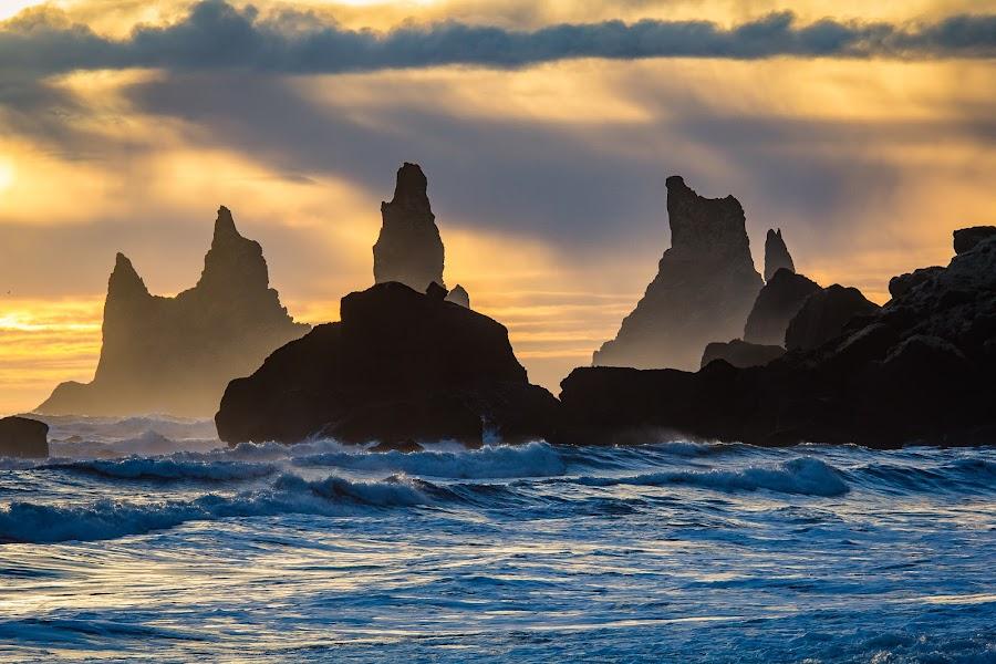 Vik by Paul Glinowiecki - Landscapes Waterscapes ( waterscape, sunset, ocean clouds, landscape, rocks, sun,  )
