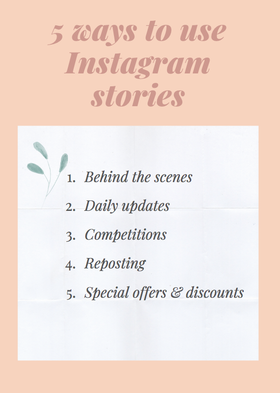 a list view showing 5 ways restaurants can use Instagram stories