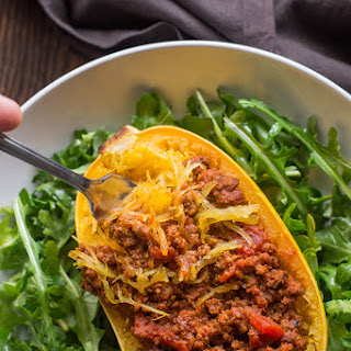 Spaghetti Squash Bolognese Boats (Gluten-Free, Paleo, Dairy-Free, Whole30, Low Carb, Perfect Health Diet)