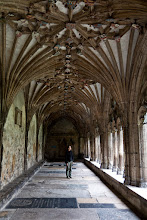 Photo: We wandered down this hallway in the cathedral and tried to find the oldest graffiti there. The oldest one we saw was from 1626