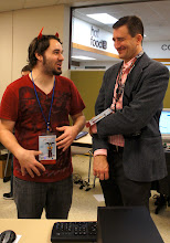 Photo: James and Michael, our two speakers, having a bonding moment.