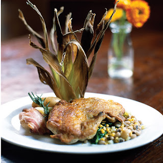 Crispy Flattened Chicken with Roasted Corn Succotash & Lemon/Garlic Confit