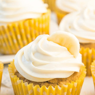 Healthy Banana Cupcakes with Cream Cheese Frosting.