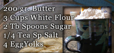 Photo: Take the 200 gr butter out of the fridge to soften. In a large bowl put the flour, 2 tablespoons sugar, salt and butter.