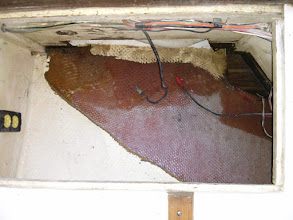 Photo: damaged shelf in old battery locker removed and area cleaned.