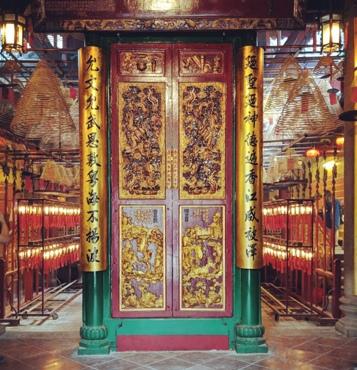 Doors inside of the Man Mo Temple.