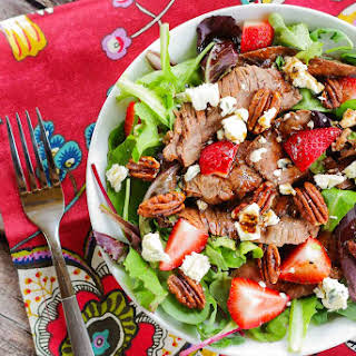 Grilled Flank Steak Salad with Strawberries.