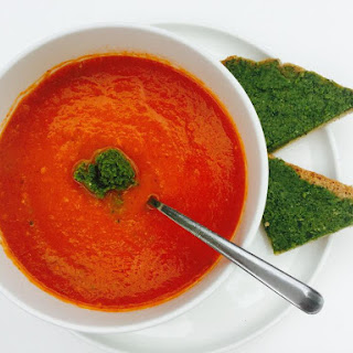 Tomato Soup with Sorrel Pesto Toast