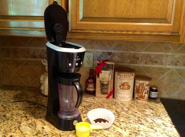 Brew 3 Tablespoons coffee in 1/2 cup water in Frappe Machine or your coffee...
