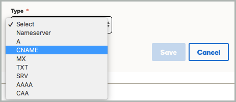 CNAME is selected from the Type drop-down list.