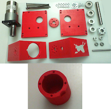 Photo: These are the components of my Super Worm-Gear Drive, with 3D-printed components, the original Worm Gear components (minus the black platform bits) and some extra bits I purchased to lock the worm-gear itself into place better.