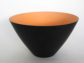 "Photo: Nason, Carlo; Vincenzo Nason & C. Glassworks. Opaque black and orange two-layer glass; mold-blown. Ground top rim, tapered to small base area; both inner and outer surfaces have hydrofluoric acid ""satin"" finish. Corning Museum."