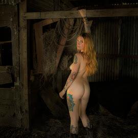Desiree by Jim Oakes - Nudes & Boudoir Artistic Nude ( horse, hay, beauty, barn, model, nude, female )