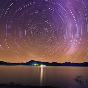 Cycle at Night by Munzer Shamsul - Landscapes Starscapes ( queensland, australia, night, lake, astrophotography, star trails )