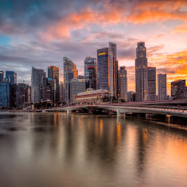 Shenton Glory by Gordon Koh - City,  Street & Park  Skylines ( clouds, urban, cbd, reflection, skyline, shenton, skyscraper, sunset, long exposure, waterfront, singapore, city, river )